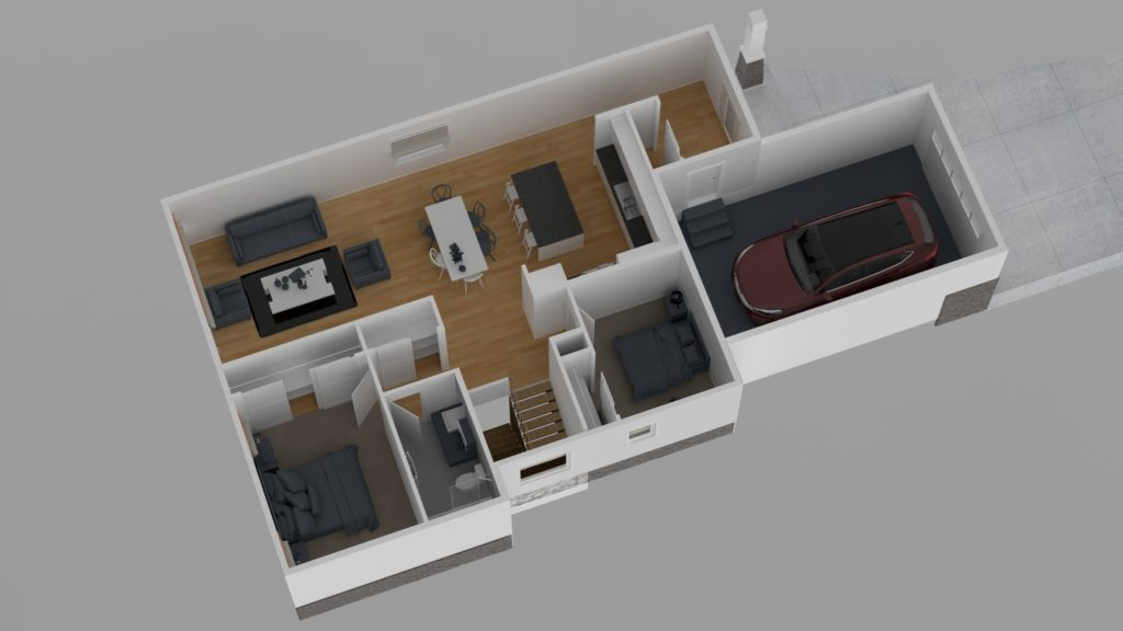 Overhead cutaway of home floor plan